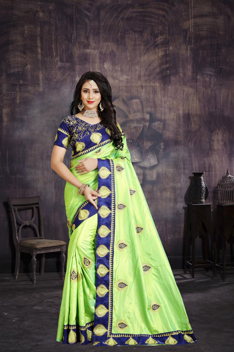 Amrutam Fab Women's Bollywood Designer Embroidered Green Silk Saree(AF-SR-10016)