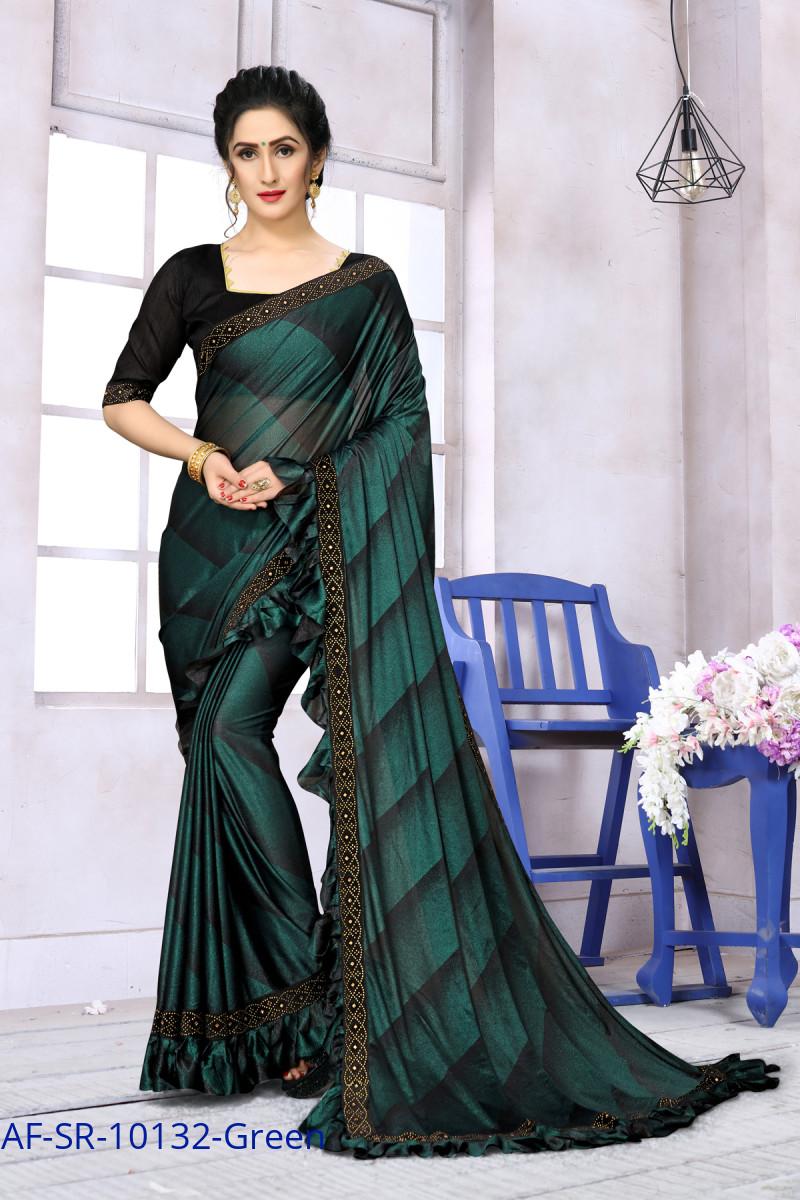 Most Demanding Green Color Ruffle Partywear Saree
