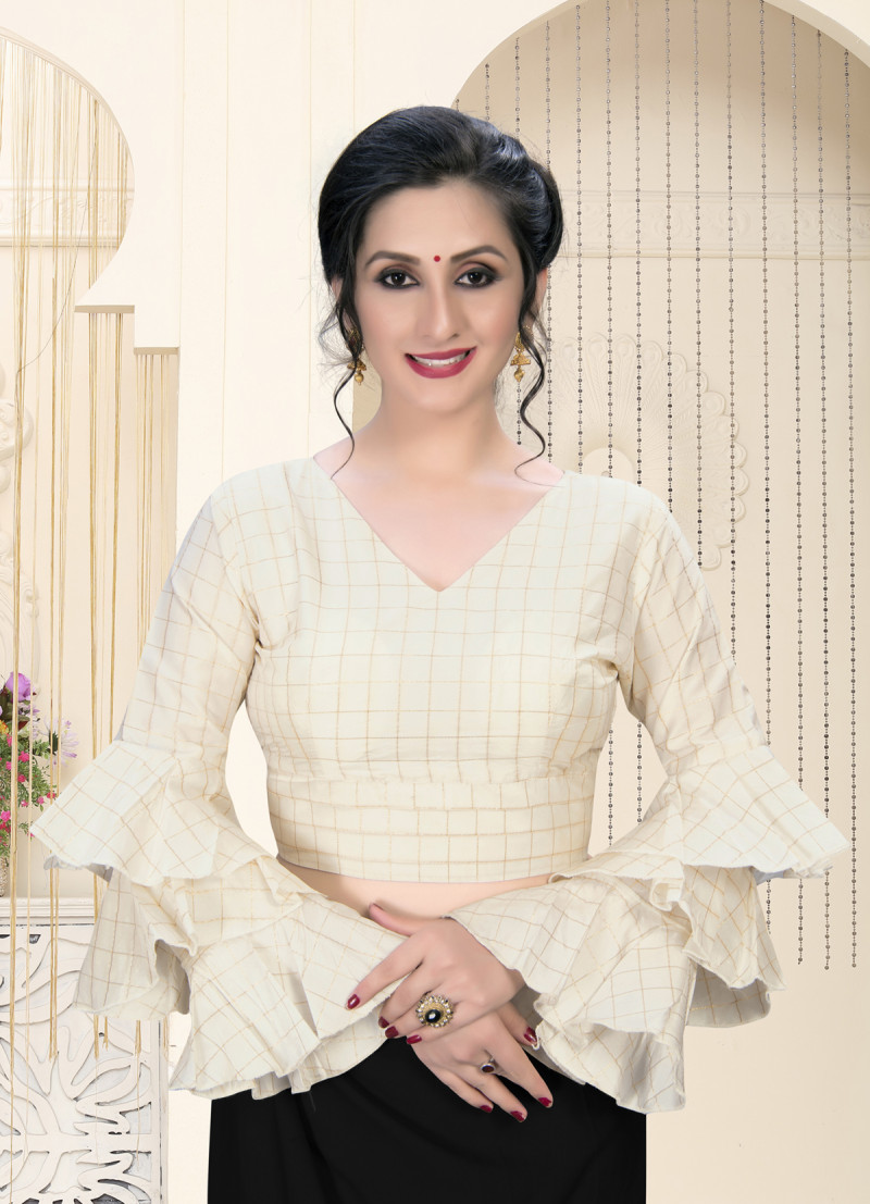 Woman's Stunning Designer Off White Silk Ruffle Blouse