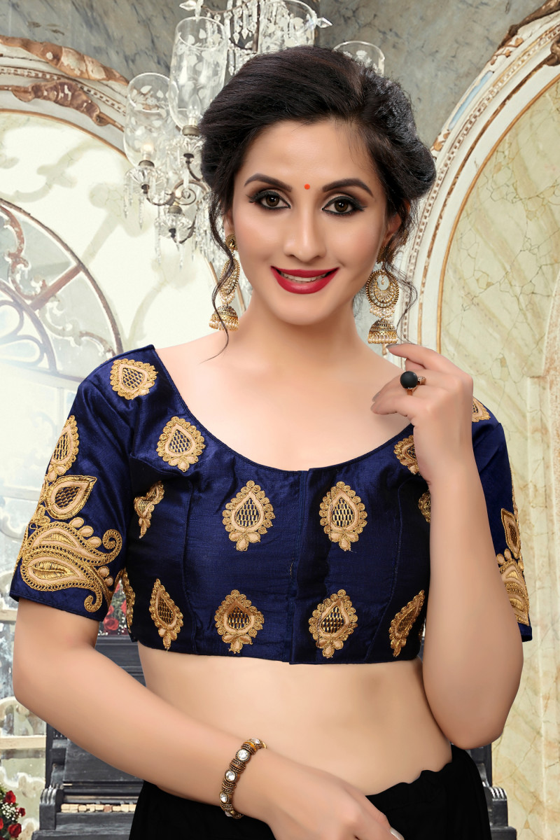 Bollywood Trendy Embroidered Navy Blue Silk Readymade Blouse