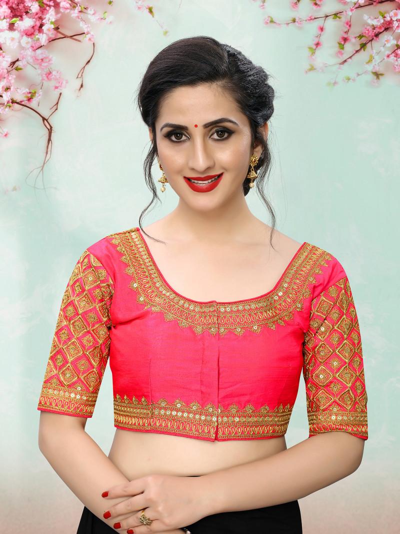 Traditional Design Pink Phantom Silk Saree Blouse