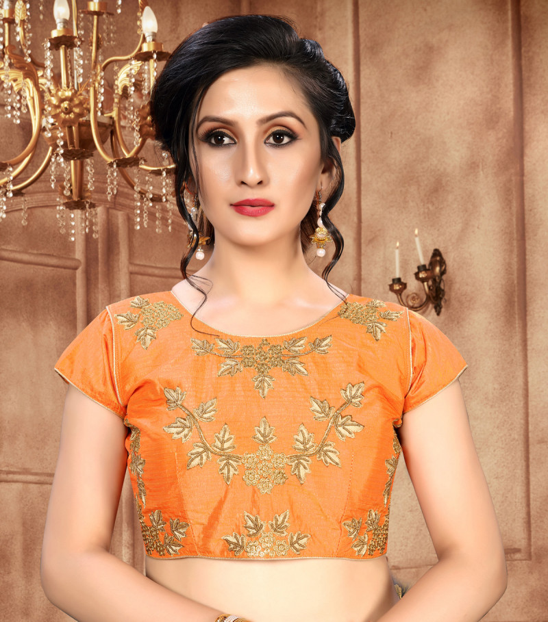 Latest Bollywood Embroidered Khatali Work Orange Color Malbari Silk Stitched Blouse