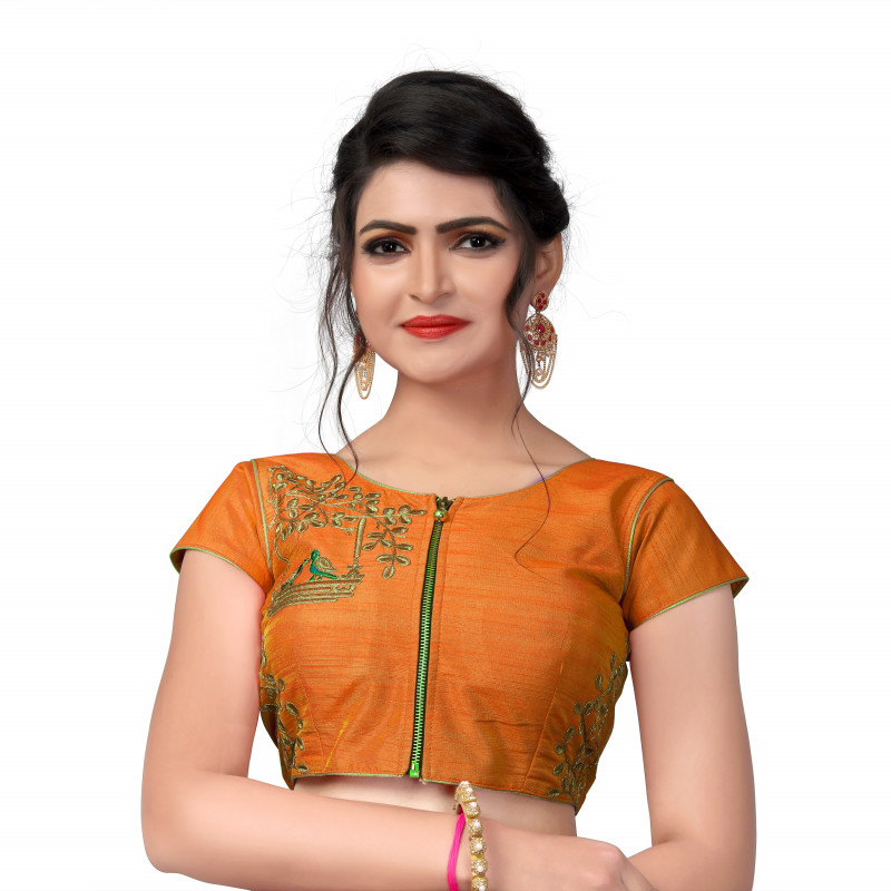 Beautiful Designer Parrot Embroidered Work Orange Malbari Silk Lehenga Choli Blouse