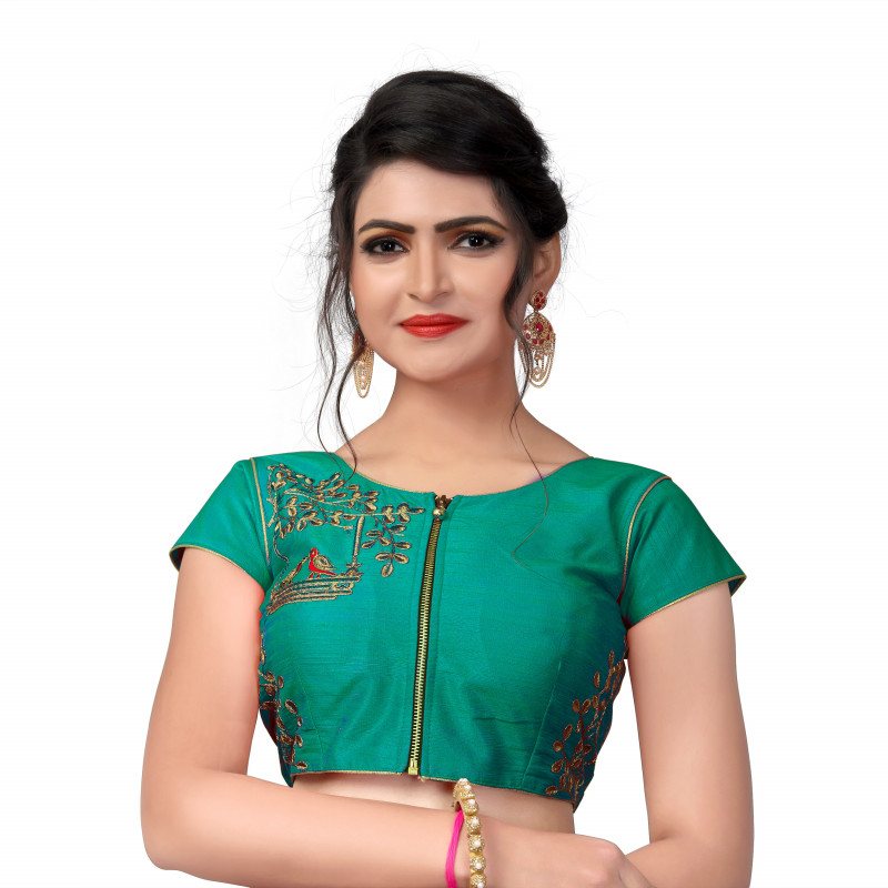 Beautiful Designer Parrot Embroidered Work Green Malbari Silk Lehenga Choli Blouse