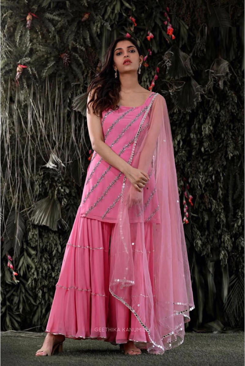 Fabulous Pink Georgette Sequence Work Sharara Suit