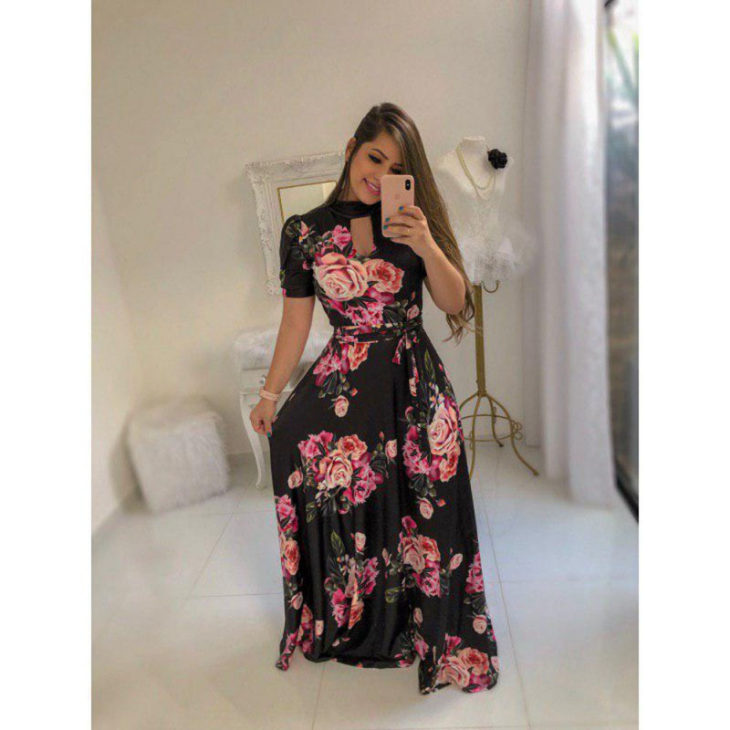 Latest Black Heavy American Crepe Printed Gown