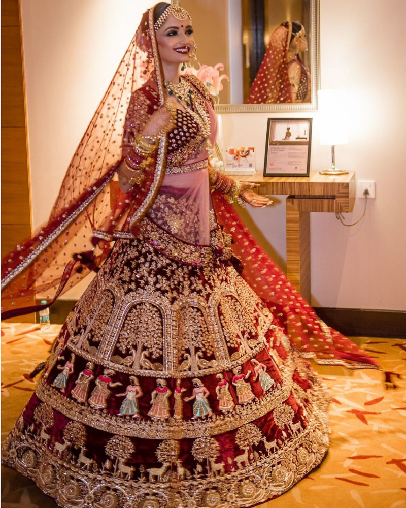 Latest Designer Maroon 9000 Velvet Bridal Lehenga Choli Hand And Stone Work With Double Dupatta