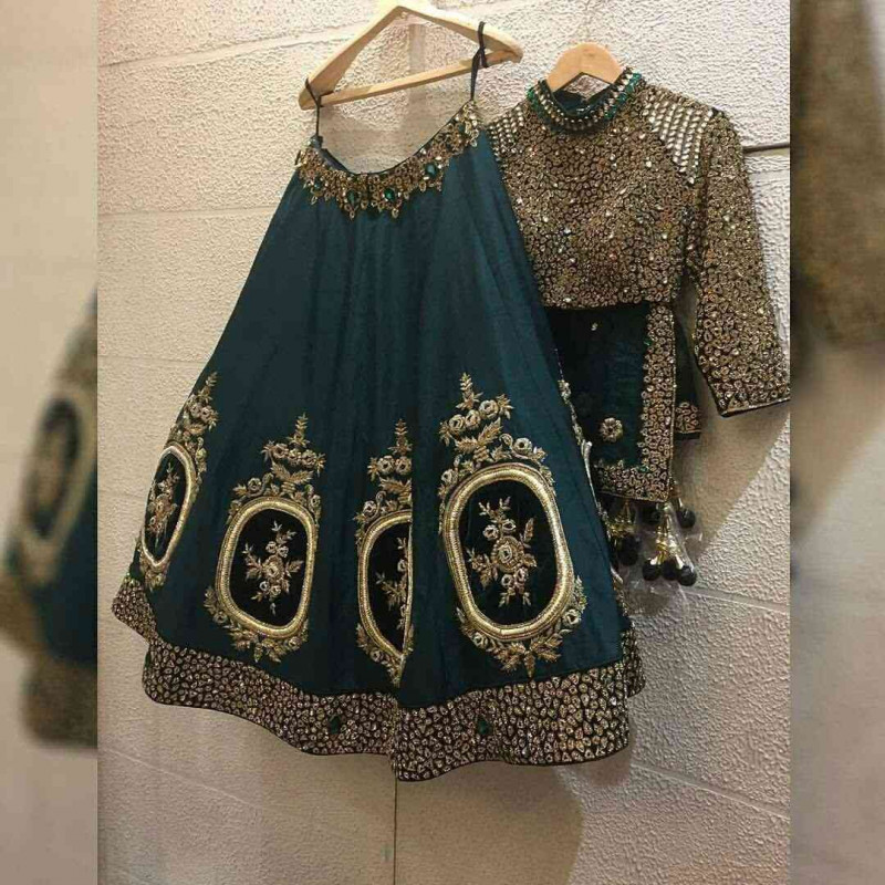 Dusty Green Embroidered Party Wear Silk Lehenga Choli With Stonework