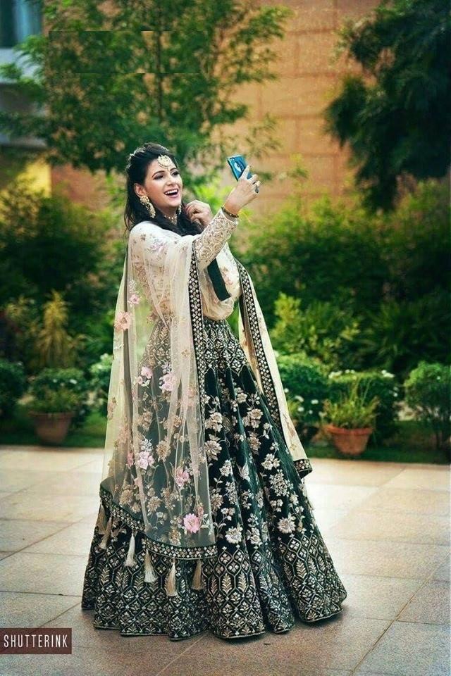 Party Wear GreenEmbroidered Designer velvet Lehenga Choli