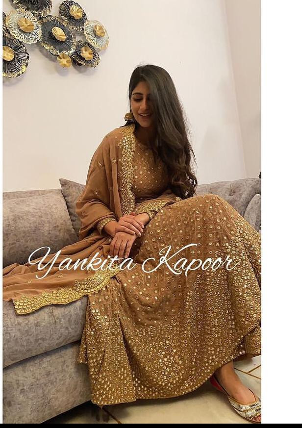 Yankita Kapoor Brown Georgette Heavy Embroidery Work Anarkali Suit