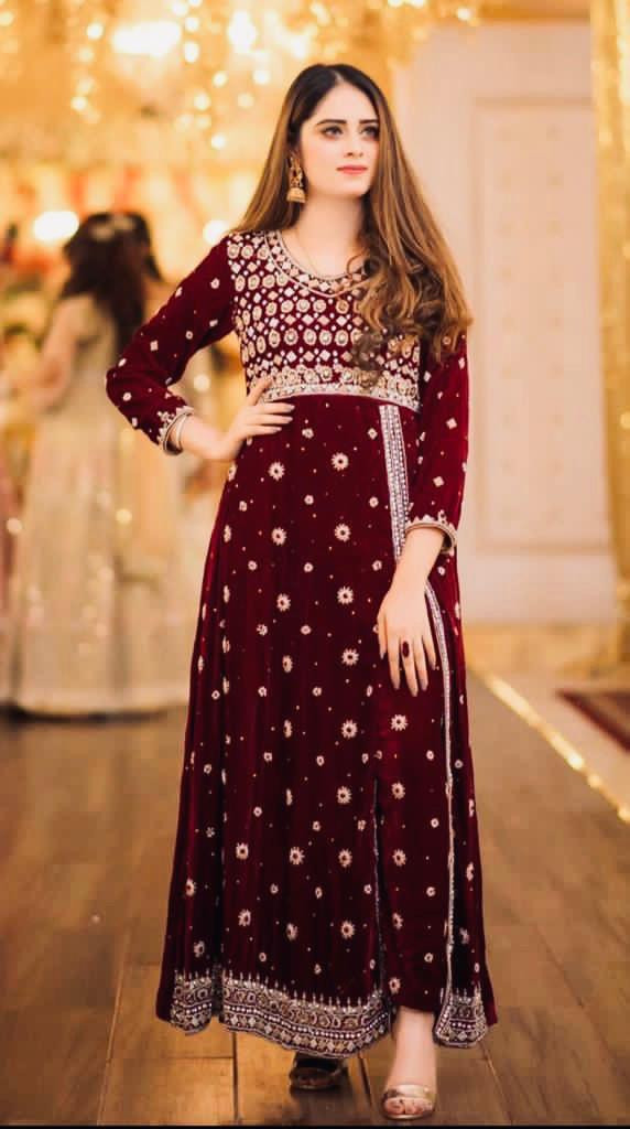 MaroonViscos Velvet With Heavy Embroidery Work Party Wear Salwar Suit