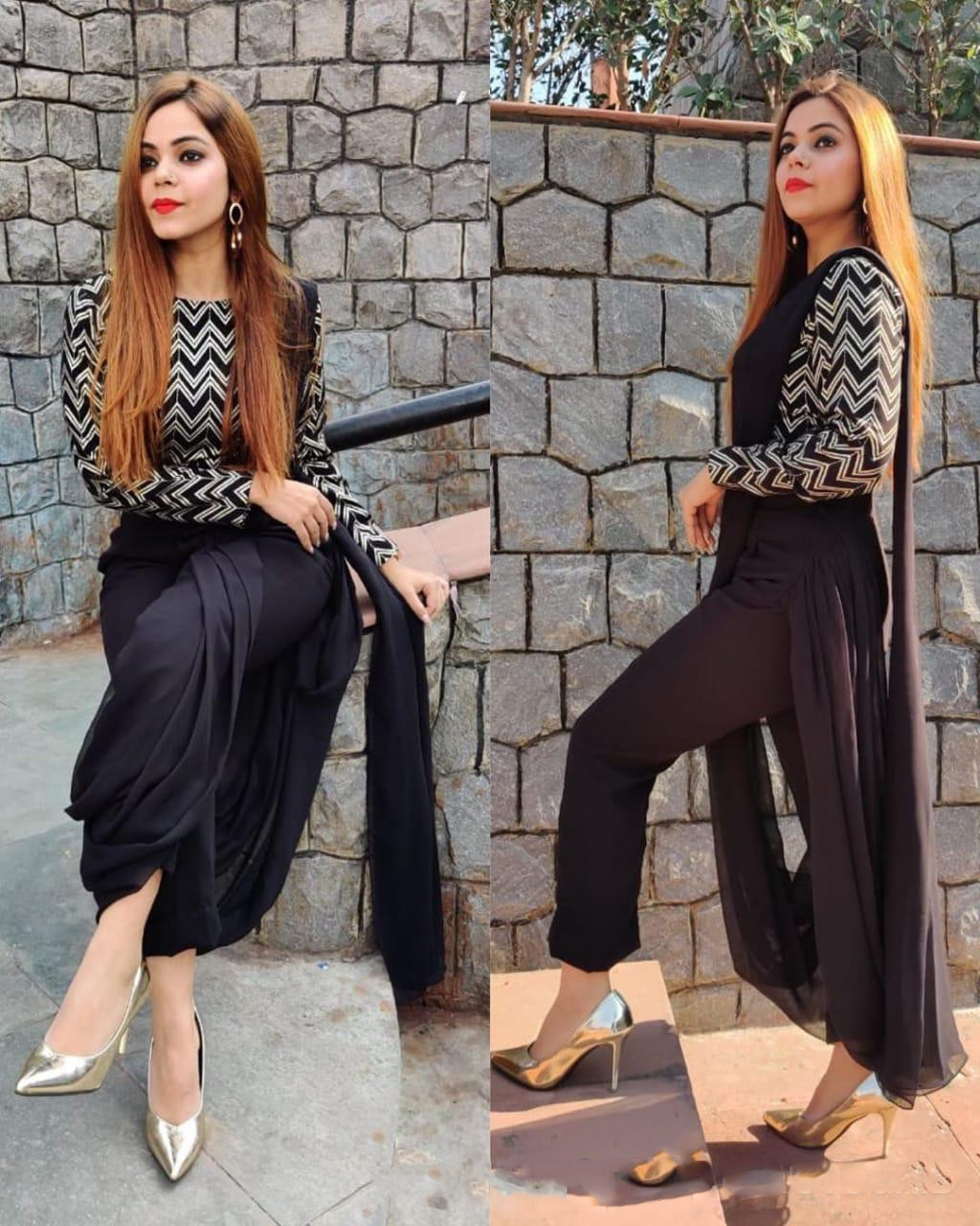 Classy Designer Fancy Black Dhoti Saree With Embroidered Blouse Piece