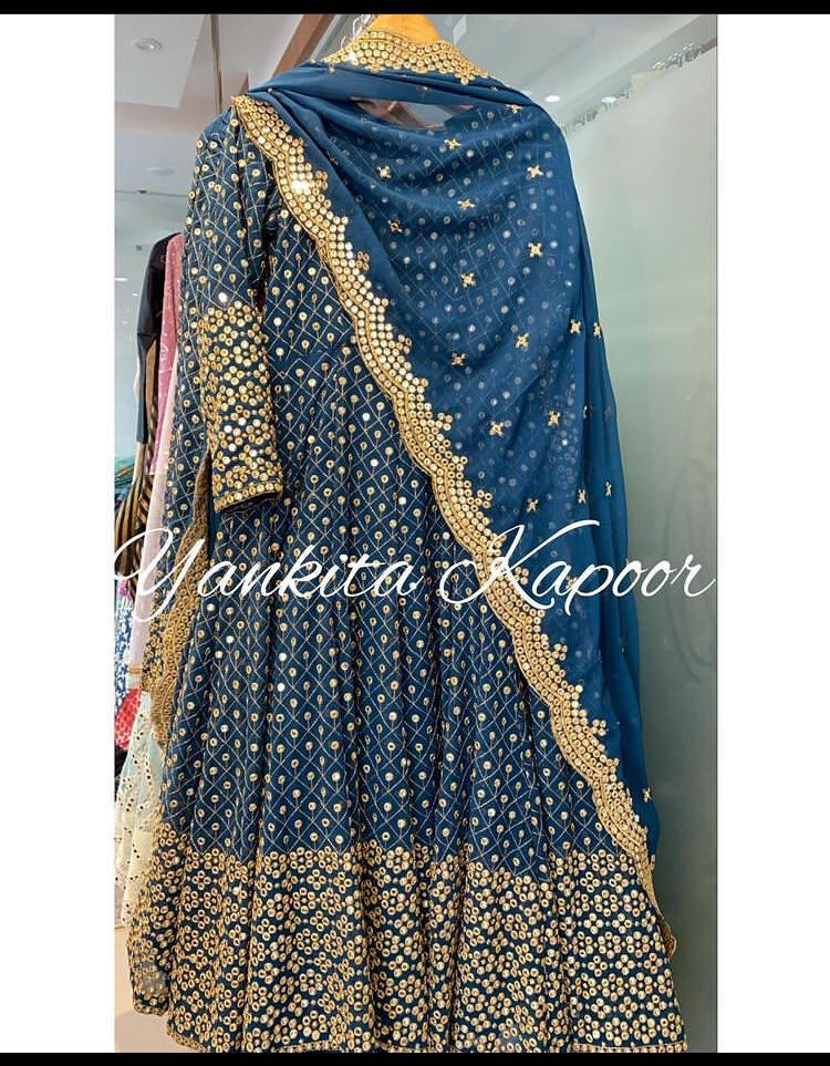 Yankita Kapoor Navy Blue Georgette Heavy Embroidery Work Anarkali Suit