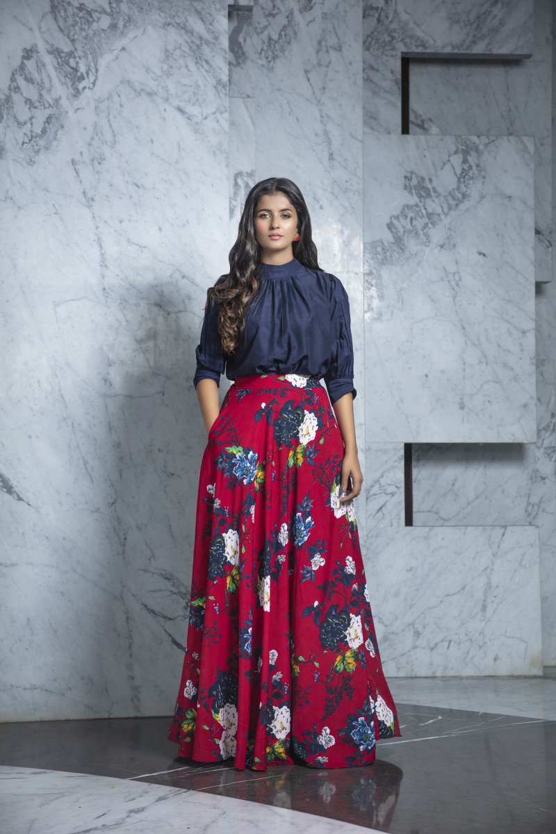 Latest Maroon Printed Crepe Indo Western Skirt With Navy Blue Top