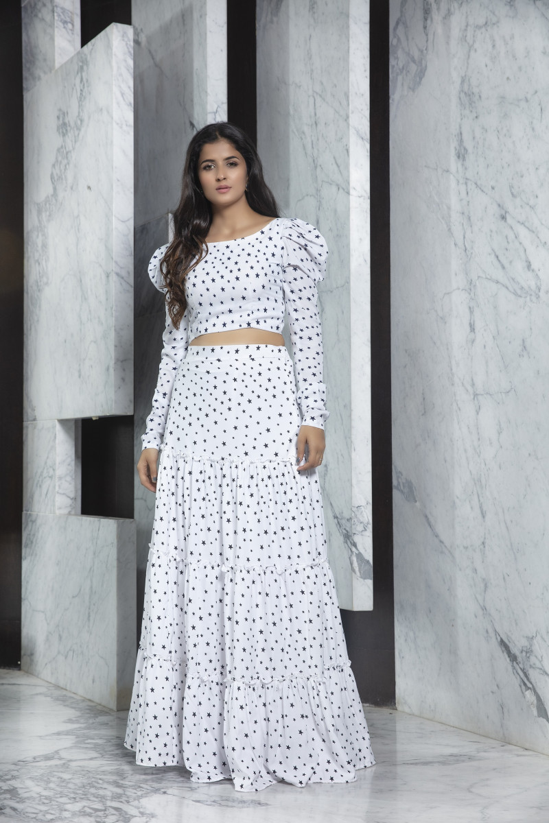 Crop Top White Color Crepe Printed Party Wear Lehenga