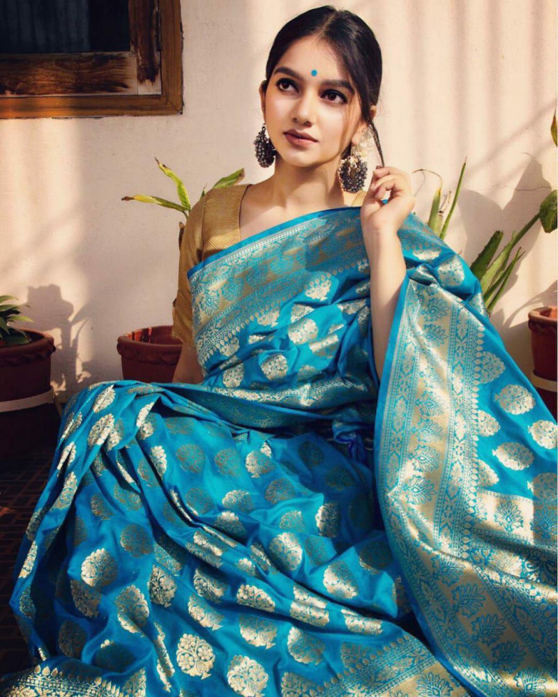 Beautiful Jacquard Soft Lichi Silk Sky Blue Saree