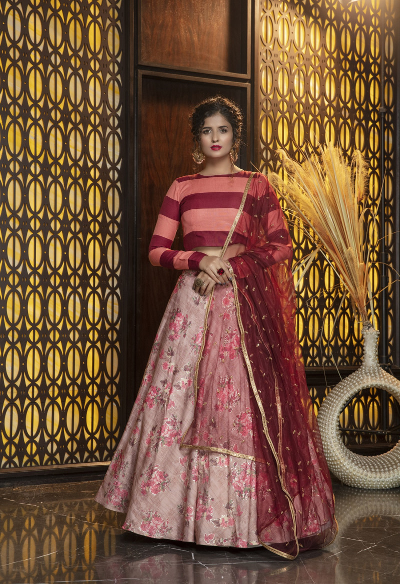 Latest Designer Pink Color Rayon Party Wear Lehenga Choli