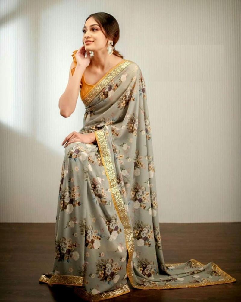 Party Wear Multi Color Georgette Printed saree