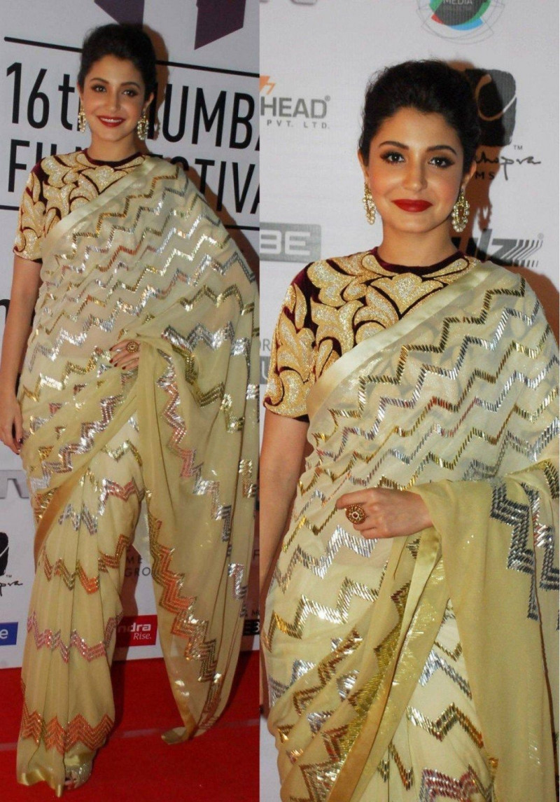 Anushka Sharma Designer Georgette Embroidery Work Saree