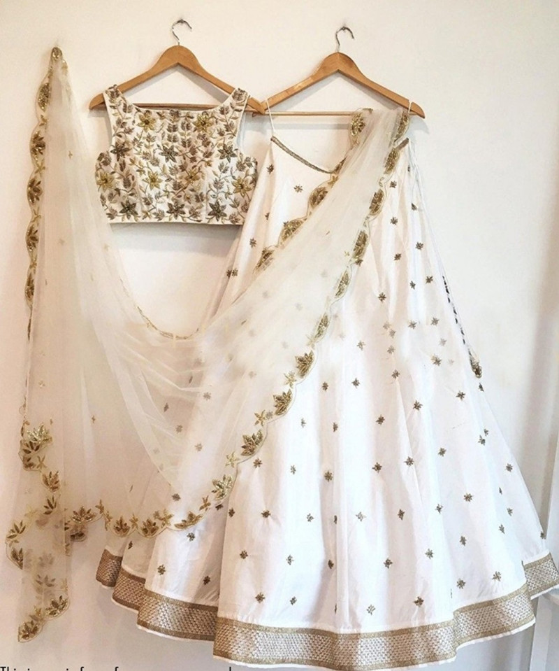 Exotic White Color Embroidered Work Party Wear Lehenga Choli