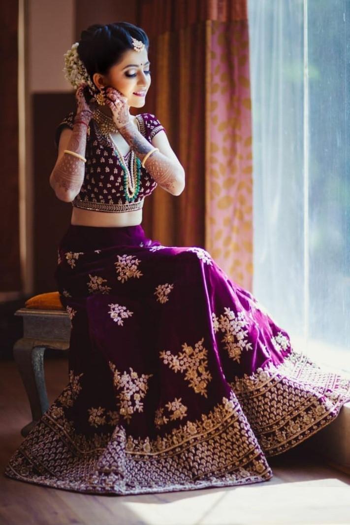 Designer Wine Color Heavy Velvet Wedding Lehenga Choli