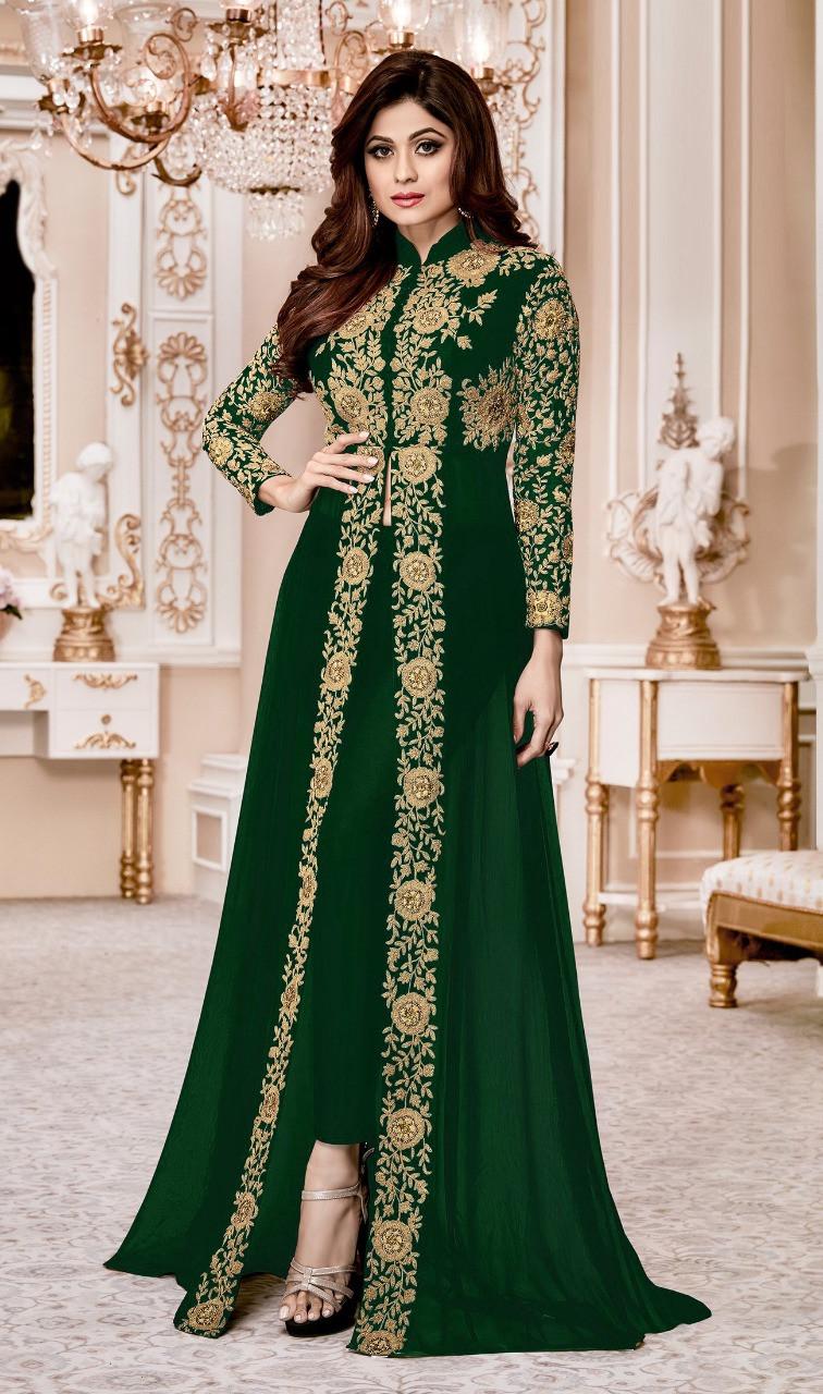 Shamita Shetty Green Color Heavy Georgette Designer Suit