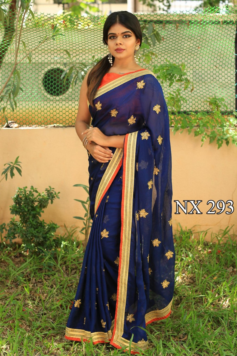 Stylish Designer Blue Color Georgette Party Wear Saree