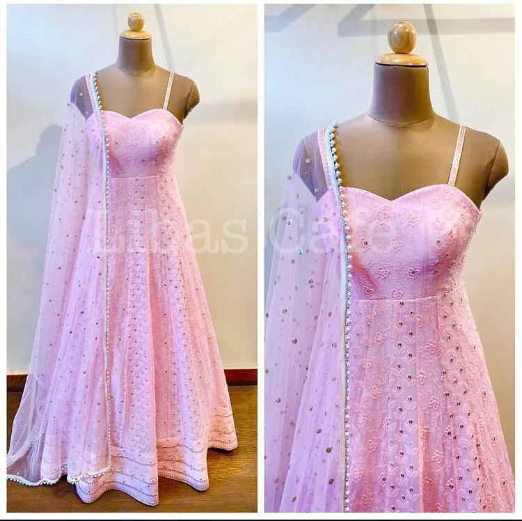 Beautiful Pink Color Daimond Work Party Wear Gown