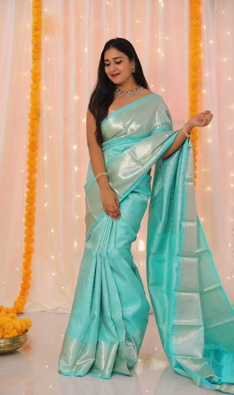 Jaquard Work Sky Blue Color Banarasi Lichi Silk Saree