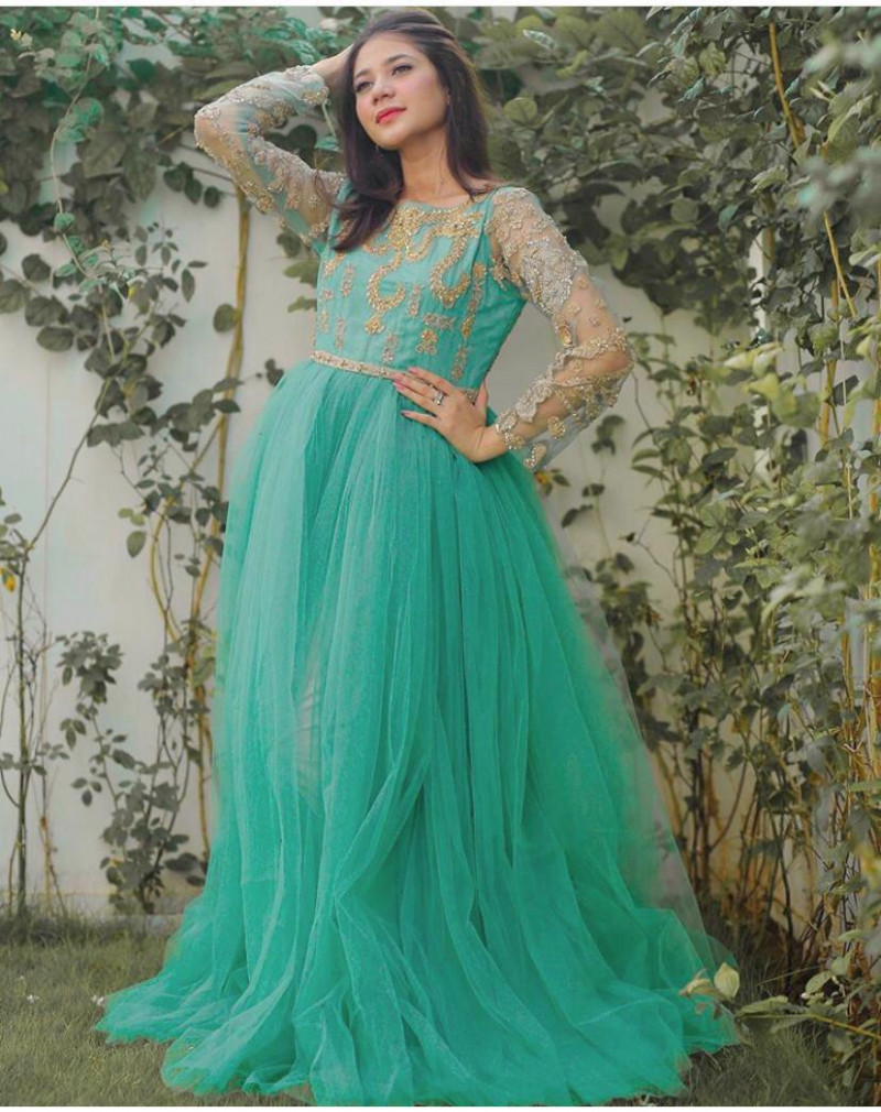 Party Wear Teal Green Embroidery Work Long Gown