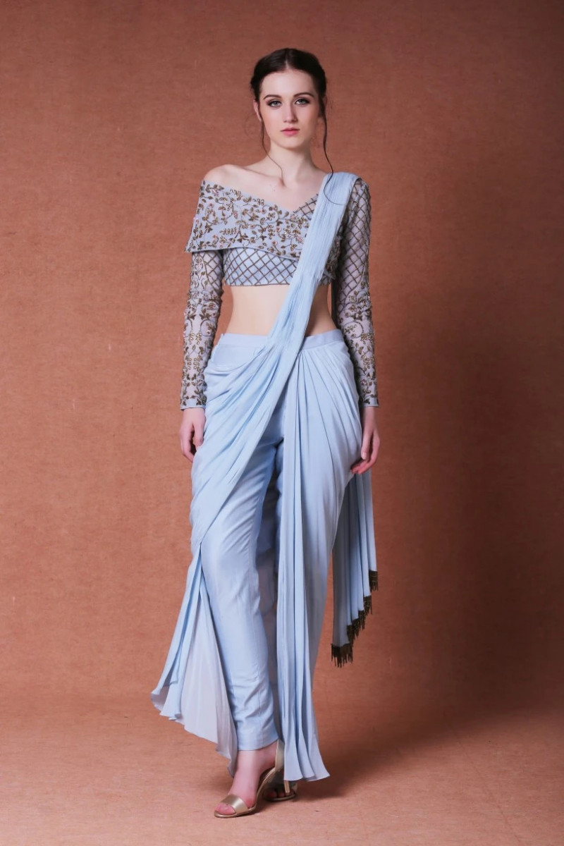 Fancy Designer Blue Dhoti Style Saree With Embroidered Blouse Piece