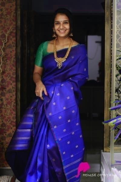 Beautiful Blue Color Lichi Silk Jacquard Work Saree