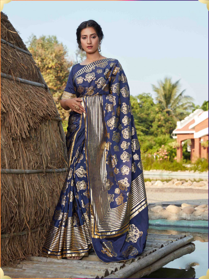 Beautiful Navy Blue Color Silk Foil Printed Saree