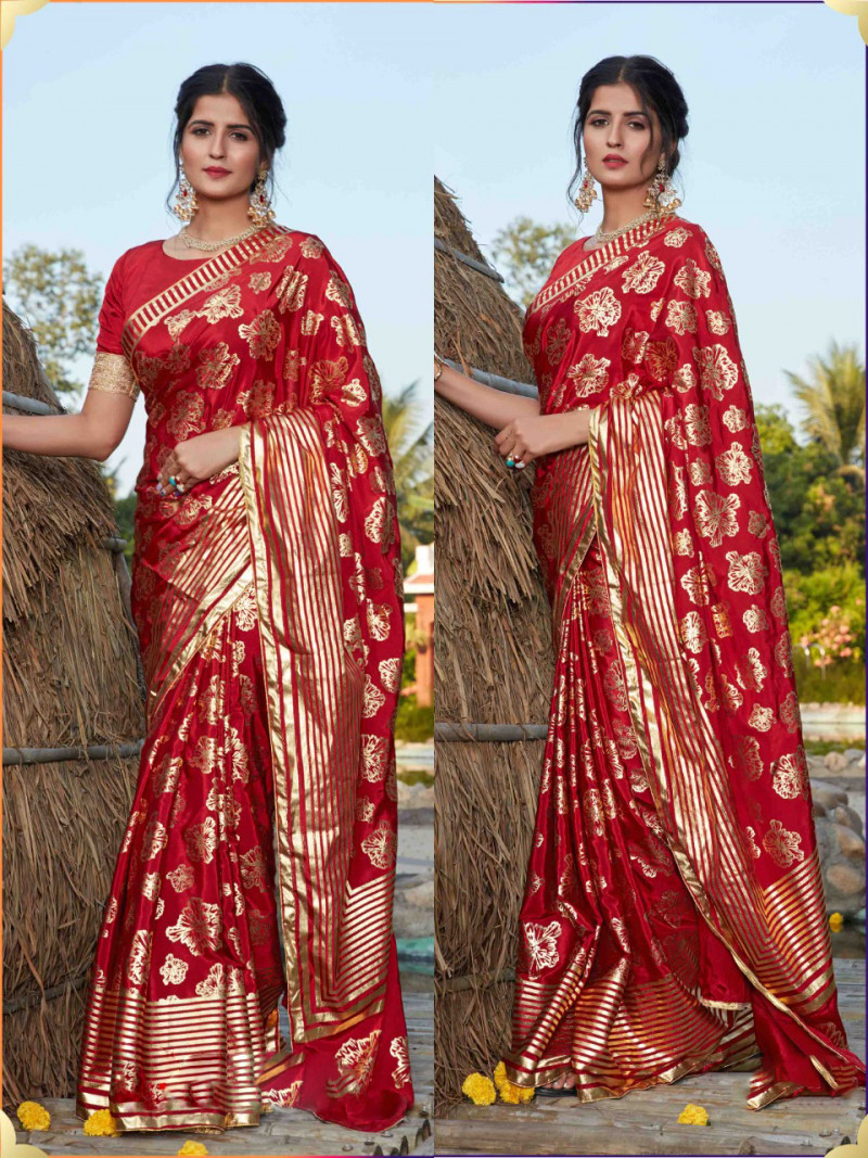 Beautiful Red Color Silk Foil Printed Wedding Saree