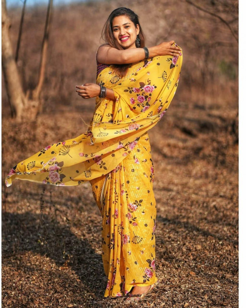 Beutiful Yellow Color Sequence Work Designer Saree