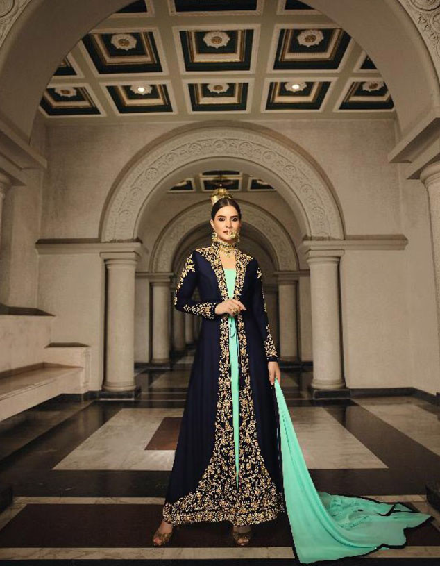 Latest Designer Green Color Heavy Gown