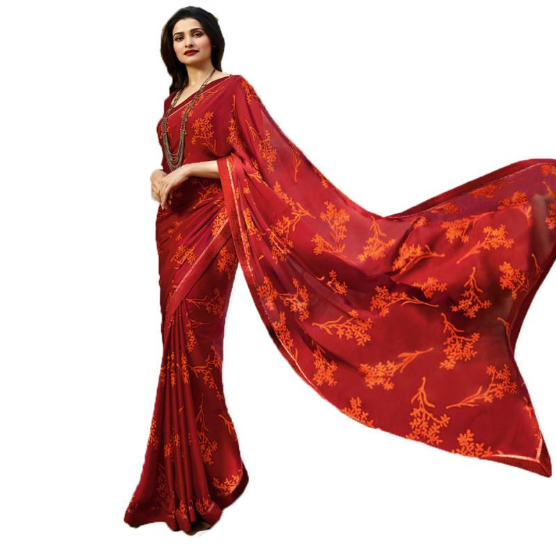 Red Color Printed Saree