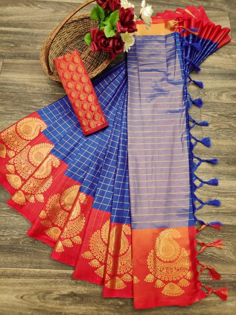 Heavy Cotton Silk Blue Color Saree