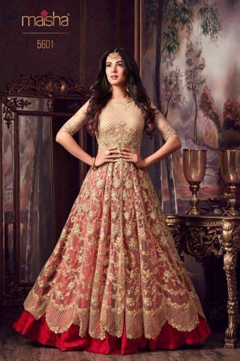 Sonal Chauhan cream with red color Semi stitched Suit
