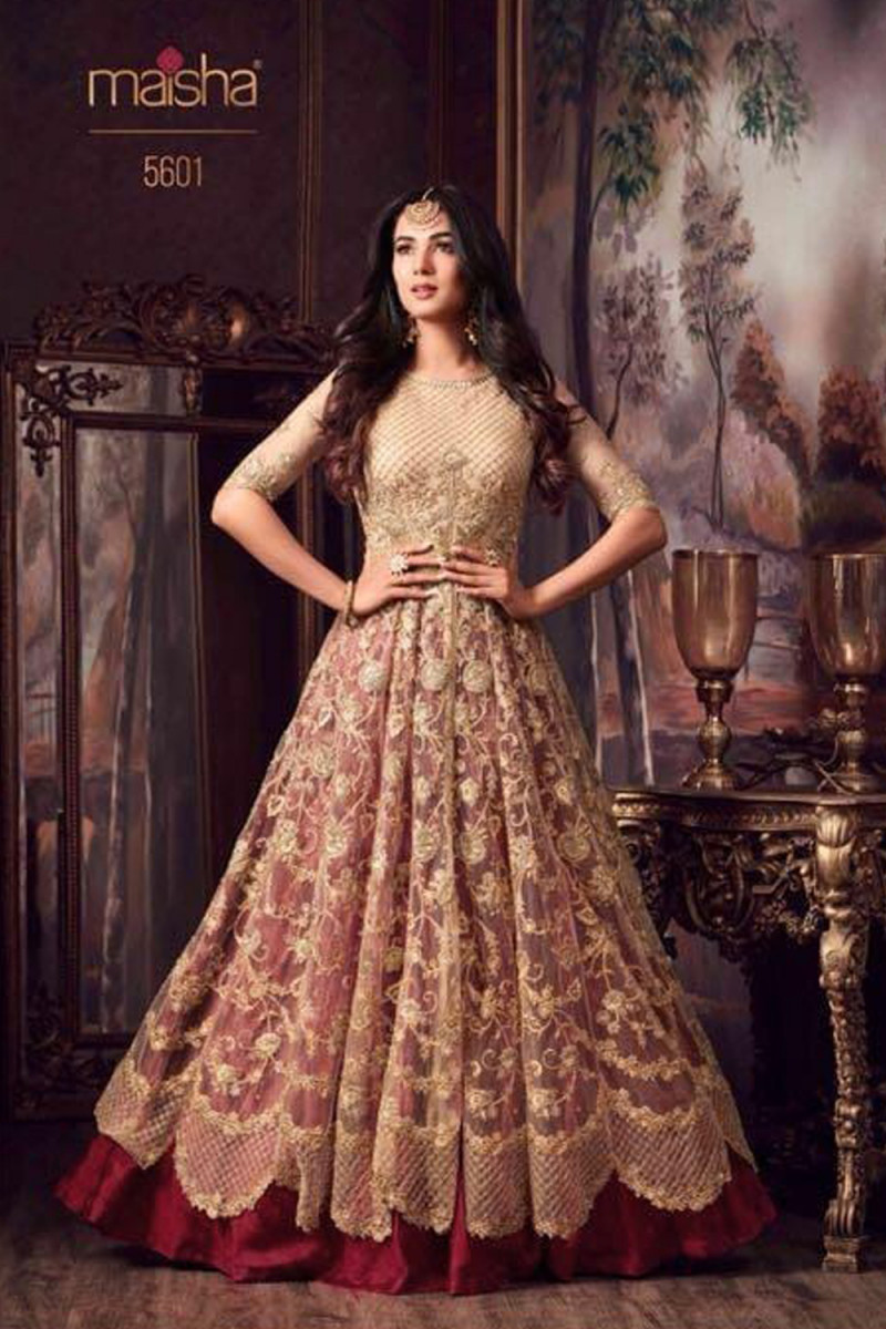 Sonal Chauhan cream with Maroon color Semi stitched Suit