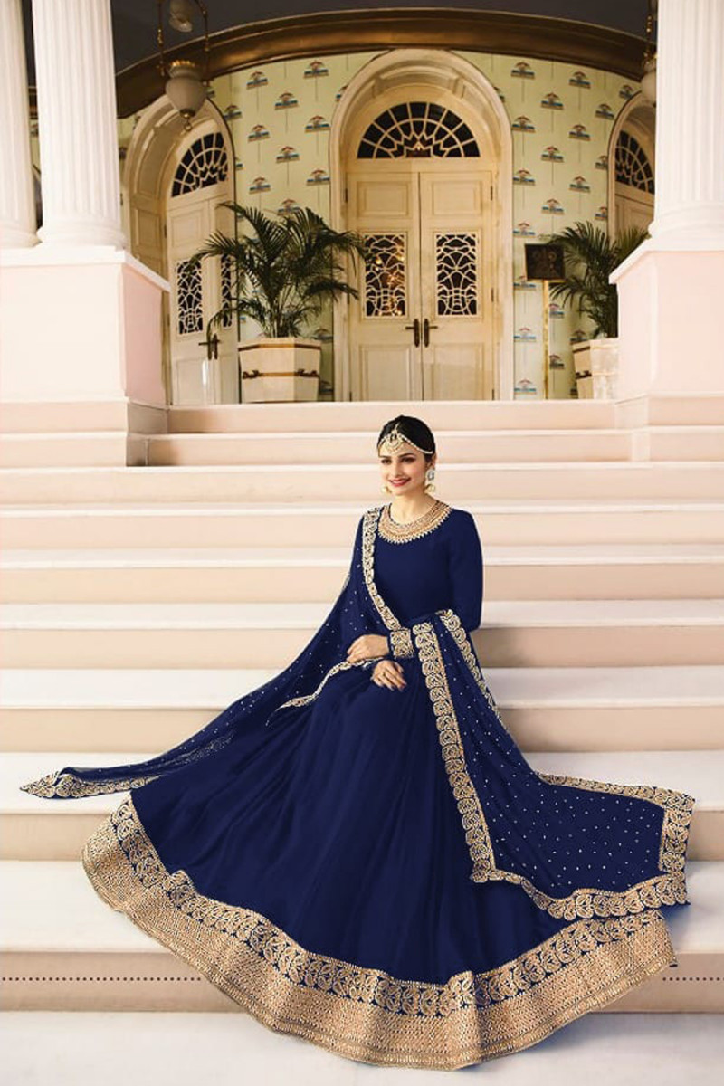 Prachi Desai Blue color Stone work Designer Gown