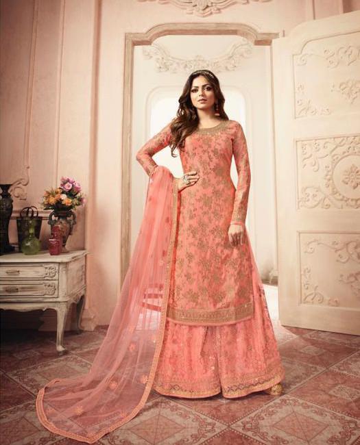 Drashti Dhami Designer Orange Color Sharara Suit