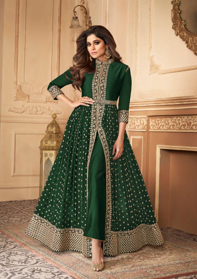 Samita Shetty Green Color BollyWood  Anarkali Suit