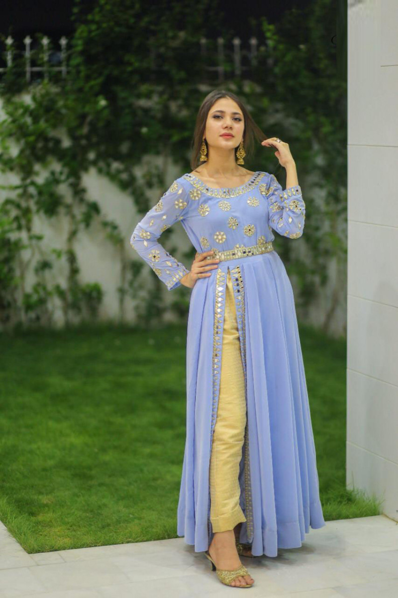 Bollywood Selection Party Wear Sky Blue Color Western Wear