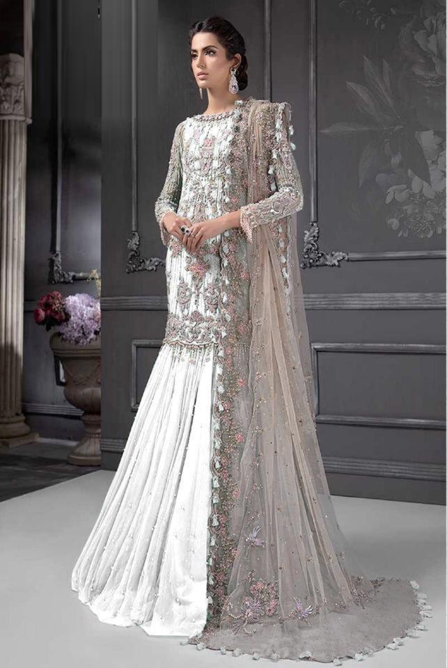 Party Wear White Color Pakistani Georgette Salwar Suit