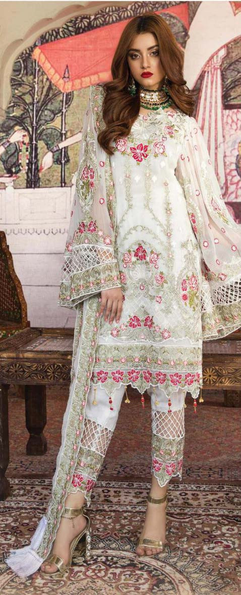 Party Wear White Color Embroidery Pakistani Salwar Suit