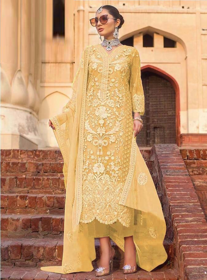 Latest Designer Soft Net Embroidered Work Yellow Pakistani Suit