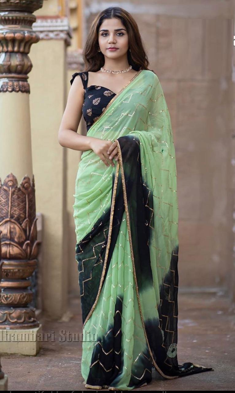 Wedding Wear Pista Color Sequins Work Saree