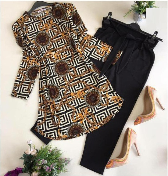 Party Wear Black Color Printed Top With Pent