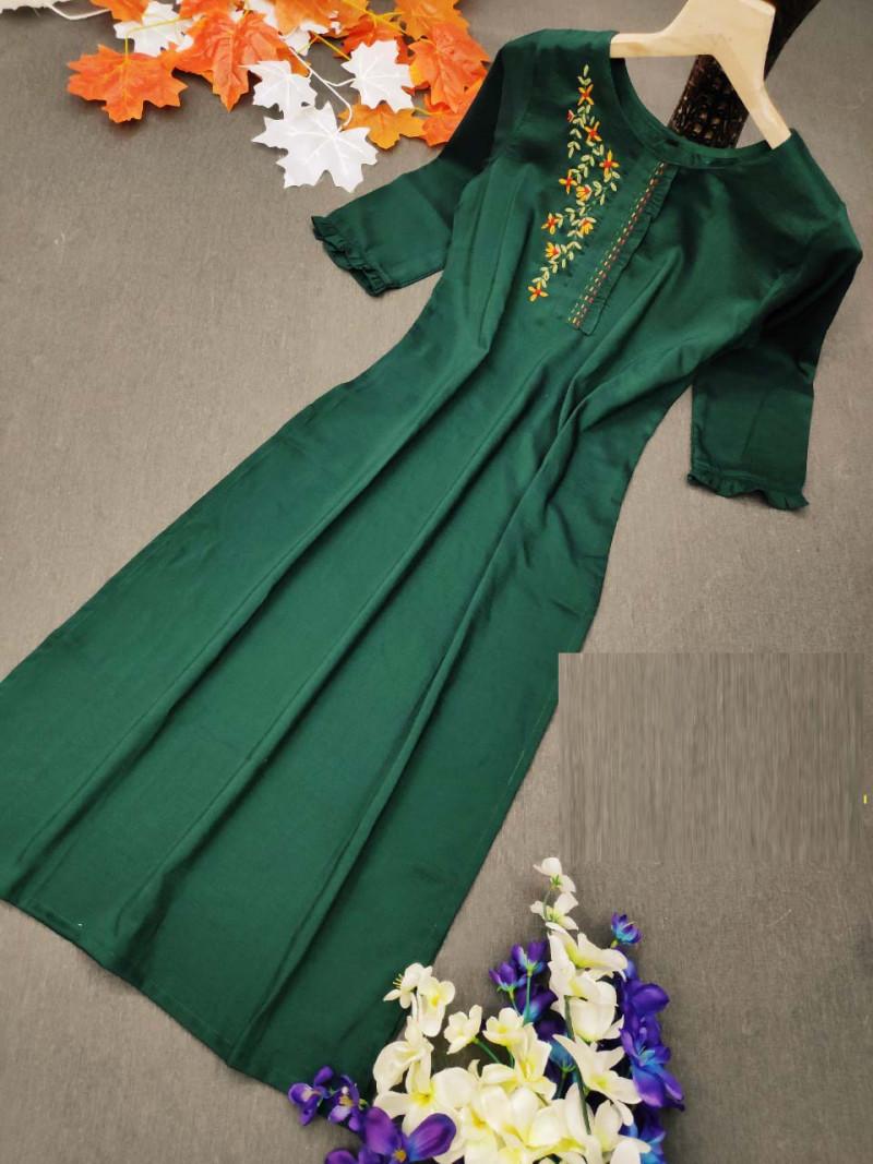 Dark Green Festive Wear Fancy Kurti